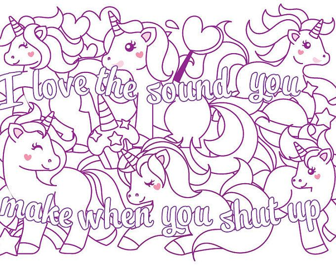 Cute insult calming coloring page with ornaments Sweary word page