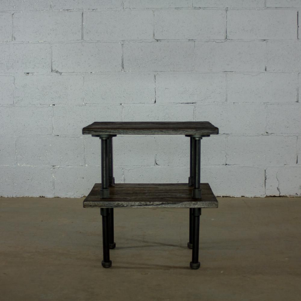 Os Home And Office Furniture Black Steel Pipe 2 Tier End Or Side Table With Reclaimed Aged Wood