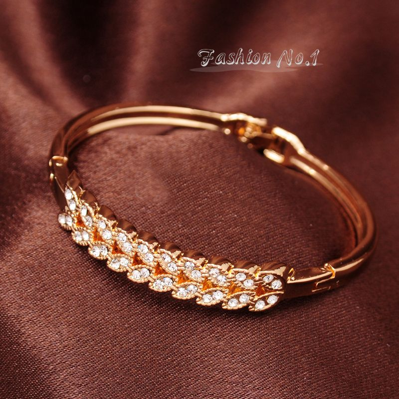 Wholesale Fashion Shiny Wheat Austrian Crystal 18k Yellow Gold Plated Bracelet Bangle For Women Free Shipping Jewelry