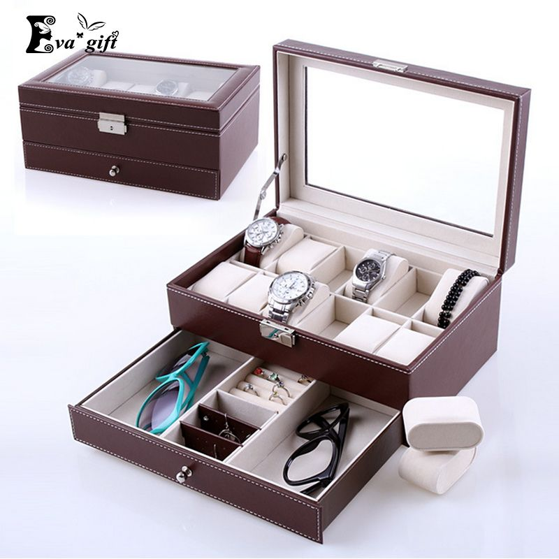 High Grade Double Layer Storage Box For Watches Jewelry Box Leather  Organizer Armoire Bracelet