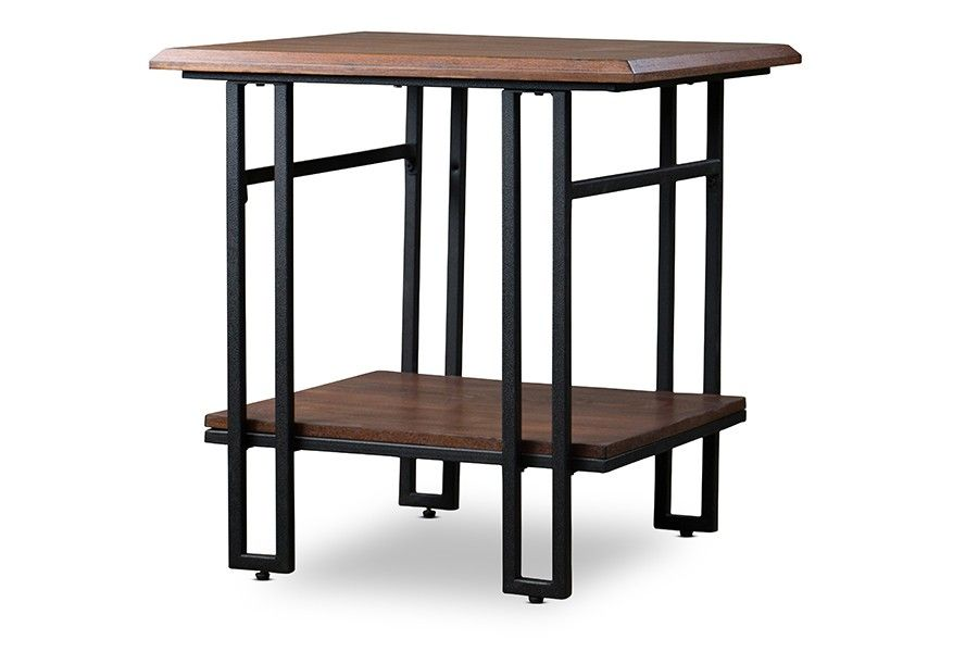 Newcastle Brown and Antique Bronze Wood and Metal End Table