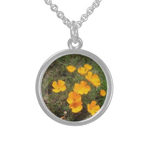 California Poppies Round Pendant Necklace
