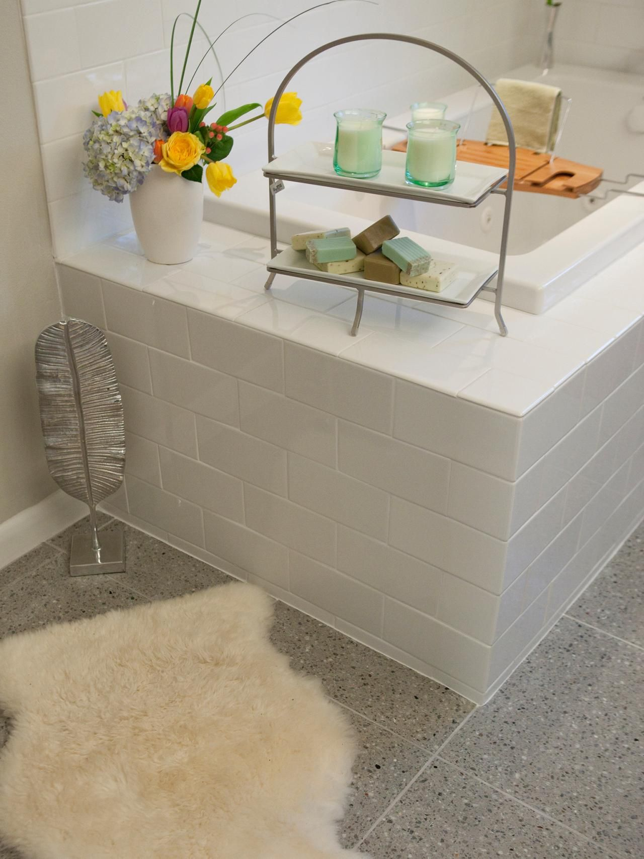 Gray Terrazzo Tile Lines The Floors Of This Master