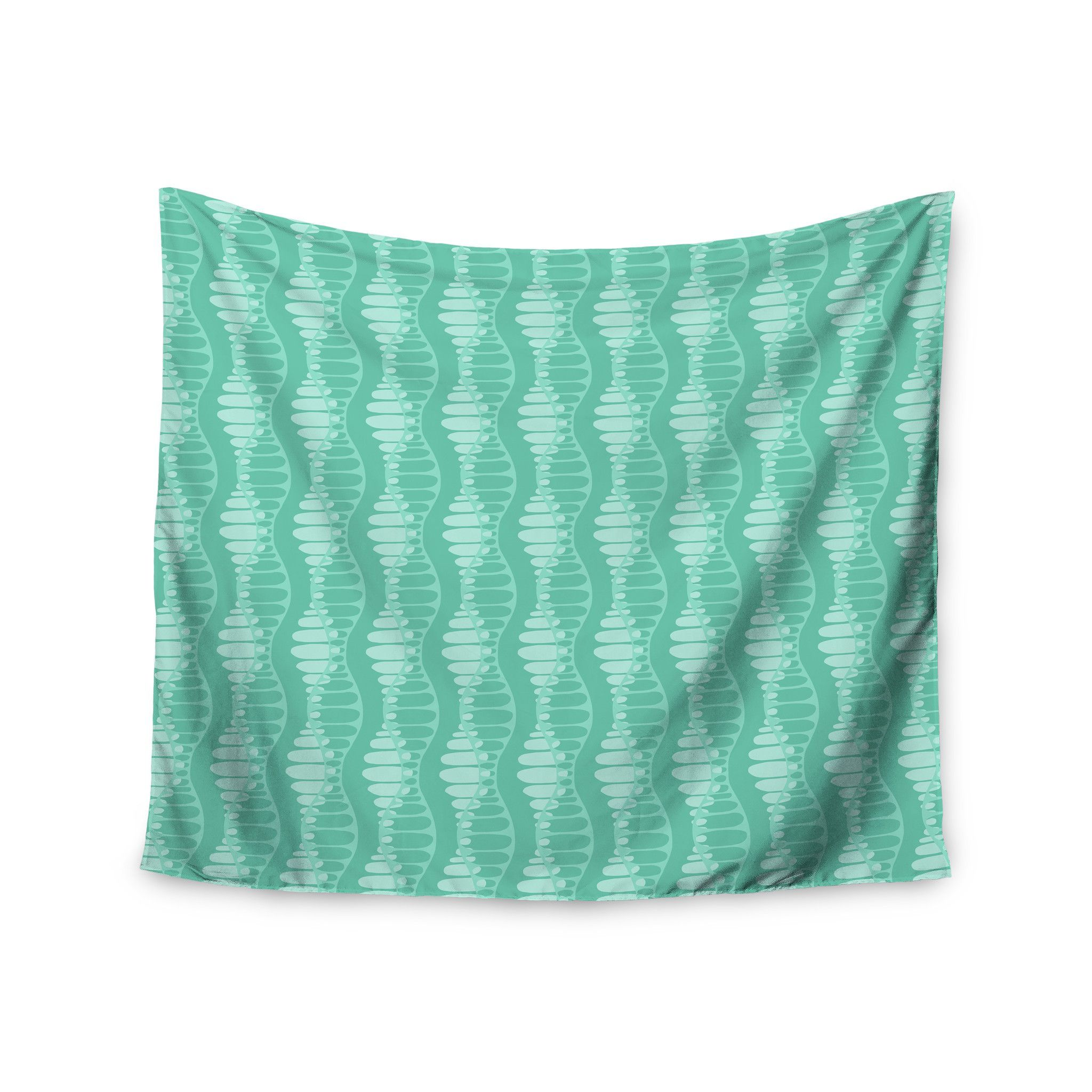 """Holly Helgeson """"Mod Waves"""" Teal Pattern Wall Tapestry"""