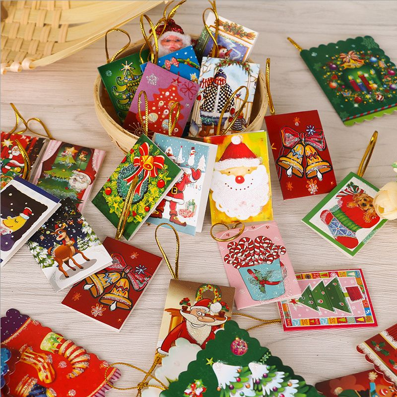 50pcs/set Christmas Tree Hanging Card Mini Christmas Cards Christmas