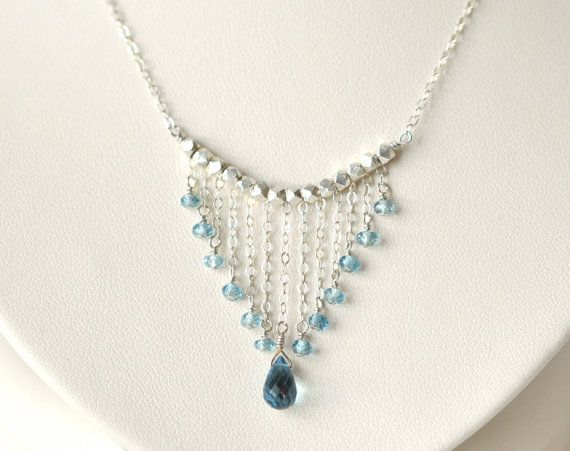 Photo of London Blue Topaz Necklace- Sterling Silver Necklace- Blue Gemstone Jewelry- Elegant Bridal N…