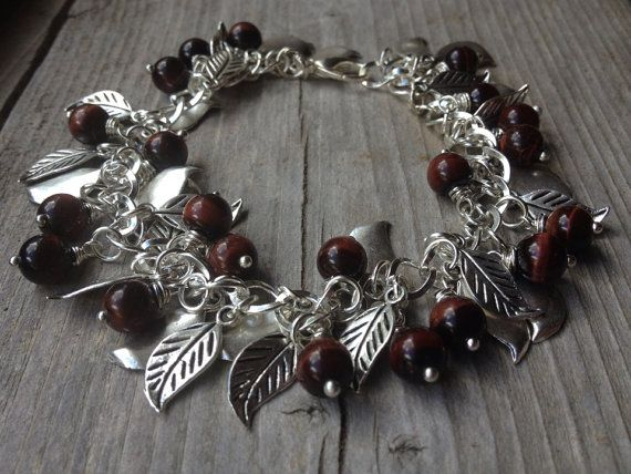 Red Tiger Eye & Silver Leaves Charm Bracelet by McHughCreations, $29.95