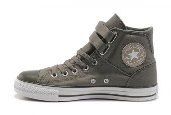 a121601b22 Grey Converse Jean Double 2 Buckles Chuck Taylor All Star Denim Canvas High  Top Shoes