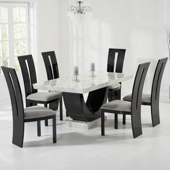 Allie Marble Dining Table In Cream With 6 Ophelia Grey Chairs ...