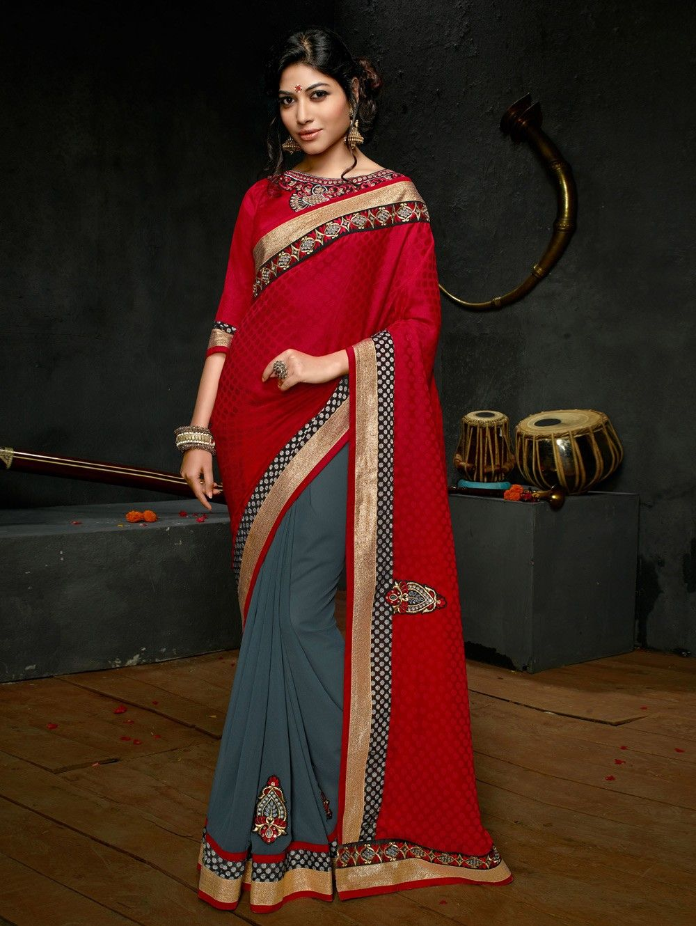 Red and Grey Georgette Saree with Resham Embroidery Work - Regular Wear Sarees - Regular Wear