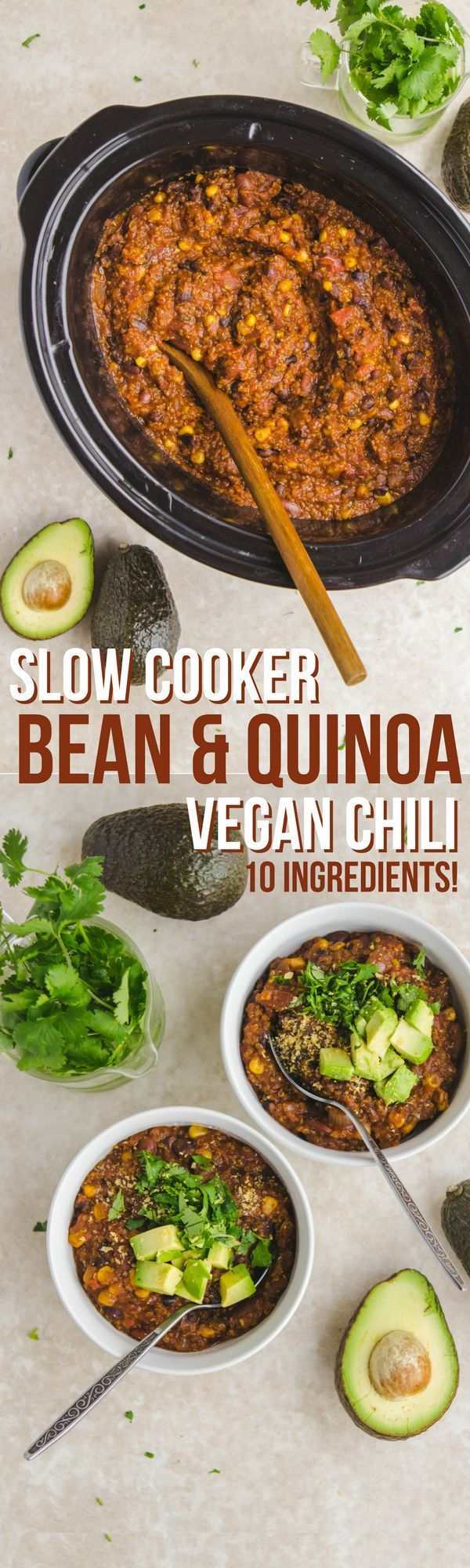 Slow Cooker Vegan Bean Quinoa Chili