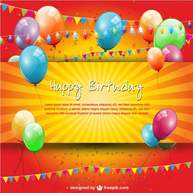 de festa de aniversário modelo livre - happy birthday card template free download
