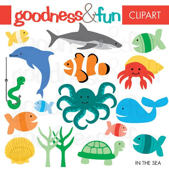 35+ Sea Animal Shapes Fun Clipart