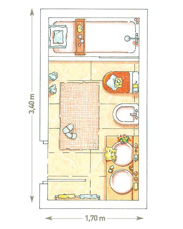 Bano con planta rectangular de 6 m2 600 for Bathroom design 3x2