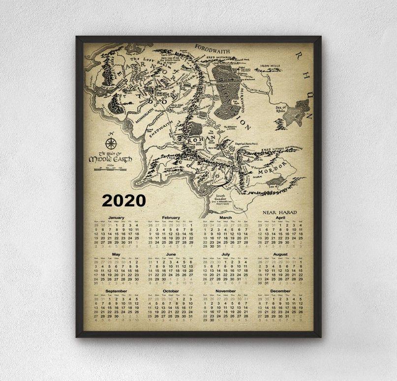 Lord Of The Rings Calendar 2020 Middle Earth Calendar 2020 Fantasy Calendar Dorm Room Calendar Bedroom Middle Earth Map Fantasy Art Gifts Bookish Gifts