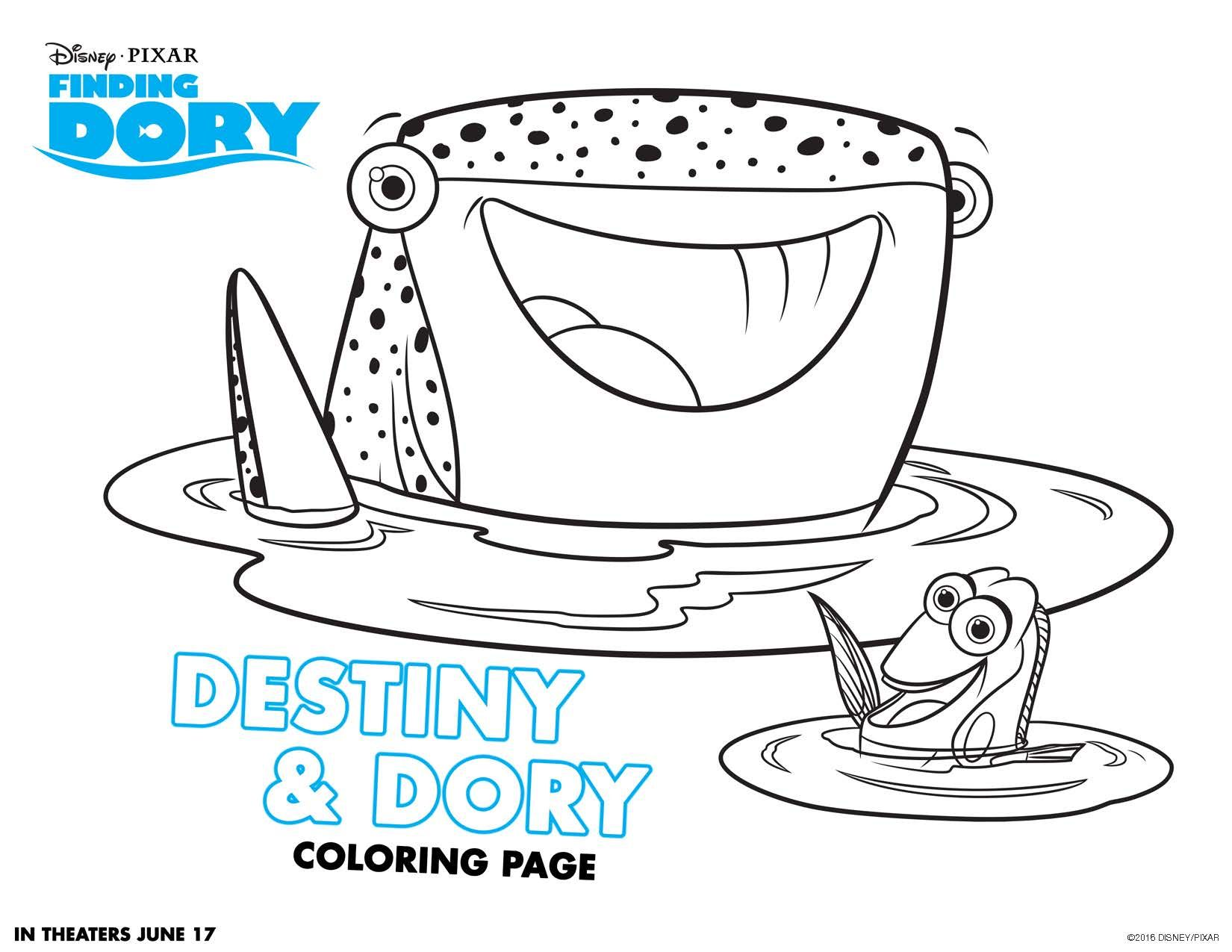 Disney Pixars Finding Dory Dives Into Theatres June 16 In 3D Coloring SheetsColoring