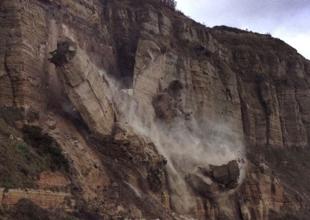 Rockfall in England     Part of a cliff in Hastings collapsed on Friday (January 3) as a result of heavy rainfall.  A large section of the cliff at Rock-a-Nore fell into the sea in the afternoon.