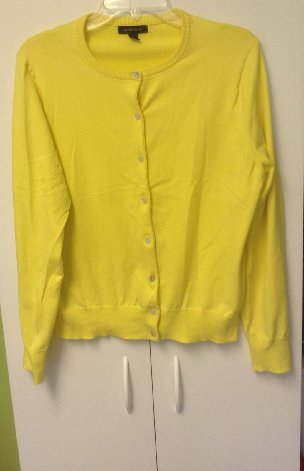 Lands End Womens Bright Yellow Cotton Blend Cardigan Sweater Large ...