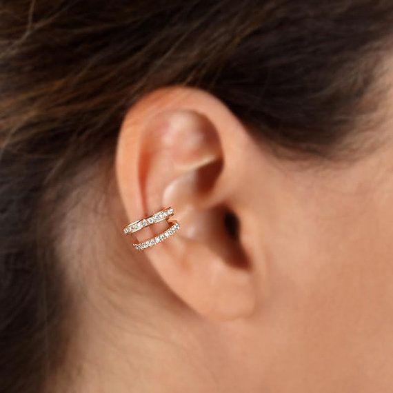 White Gold Helix Diamond Ear Cuff C Setting Earring No Pierce 14k Cu