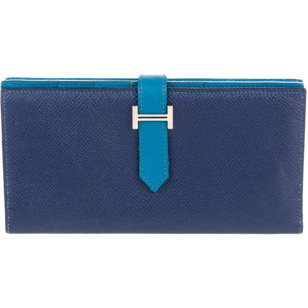 Pre-owned Herm?s Bicolor Bearn Wallet (112.840 RUB) ❤ liked on Polyvore featuring bags, wallets, blue, blue leather wallet, genuine leather wallet, zip bag, hermes bag and leather bags