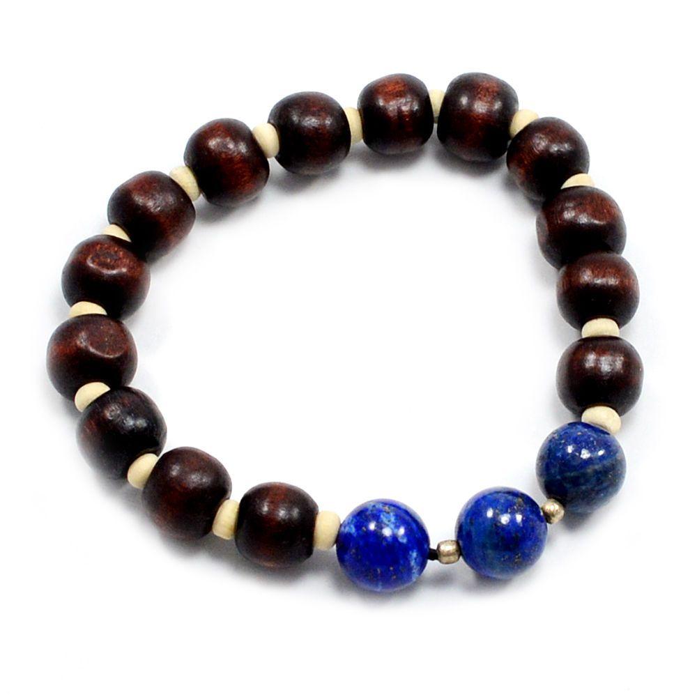 Lapis lazuli gemstone u wooden adjustable gift bracelet jewelry uk