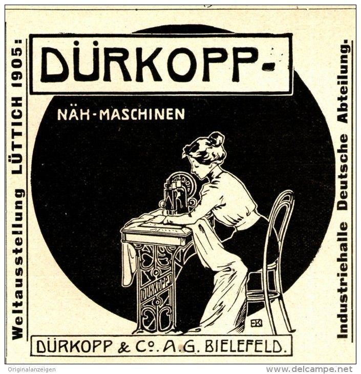 Original-Werbung/ Anzeige 1905 - DÜRKOPP NÄHMASCHINEN -  BIELEFELD - ca. 90 x 90 mm