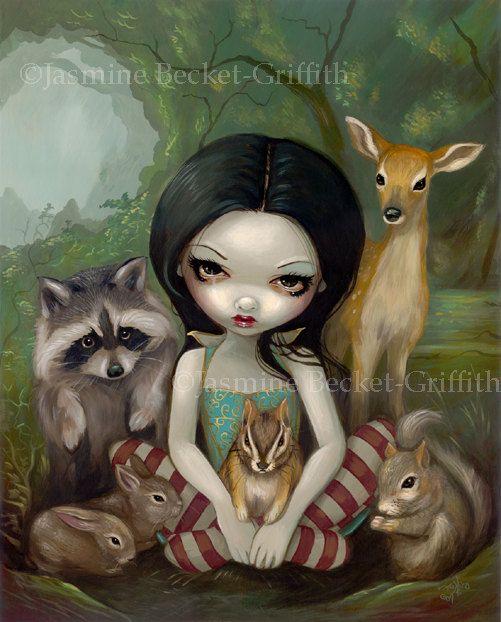 Snow White and Her Animal Friends fairytale princess fairy art print by Jasmine Becket-Griffith12x16 BIG. $29.99, via Etsy.