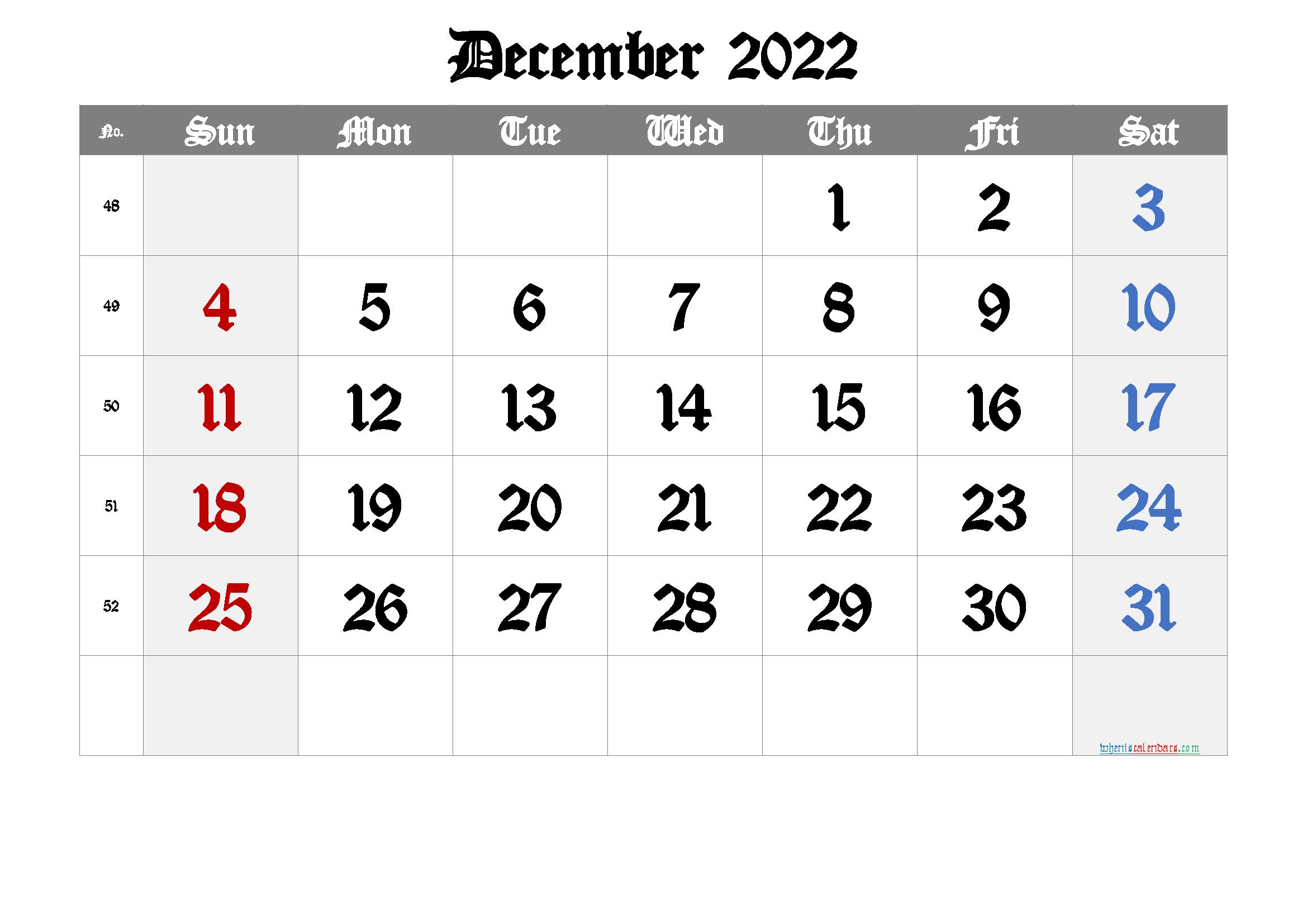 Printable Monthly Calendar December 2022.Free Printable Calendar 2022 December 6 Templates Monthly Calendar Printable Calendar Printables Calendar Template