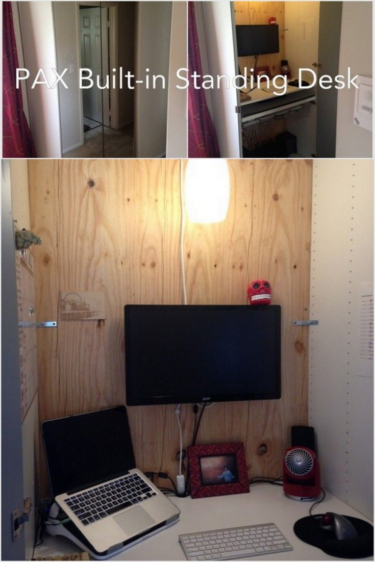 Desk Built Into Closet a standing desk built into the pax wardrobe - ikea hackers | ikea