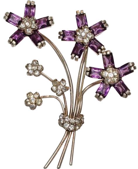 Pennino Unsigned Rhinestone Floral Pin Brooch