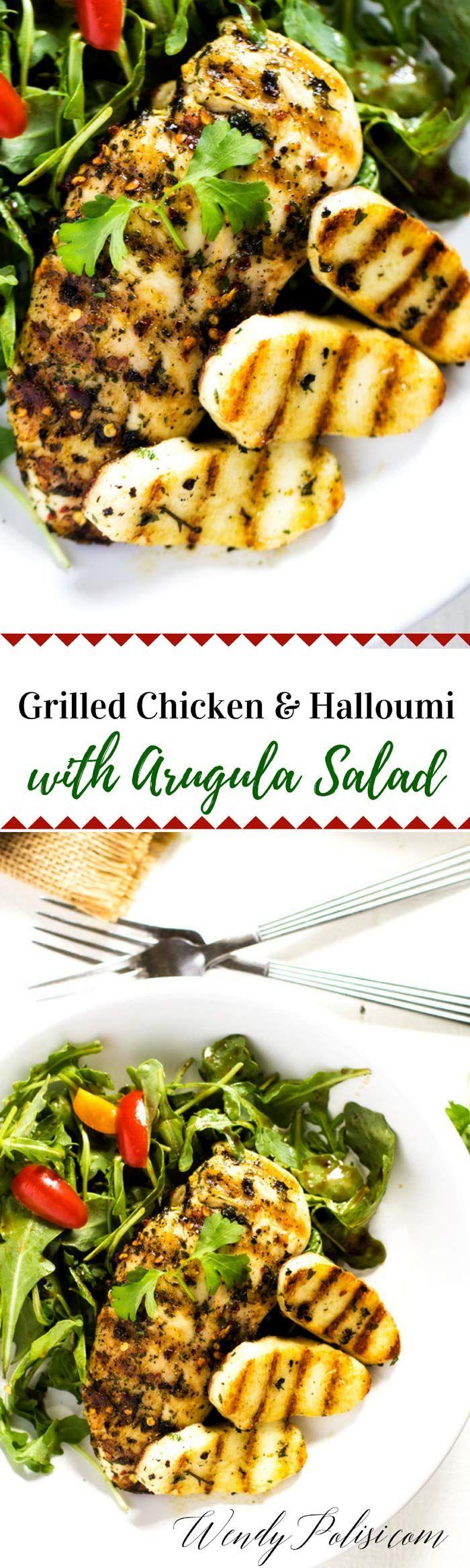 Chicken And Halloumi Salad With Arugula Wendy Polisi Recipe Delicious Healthy Recipes Chicken And Halloumi Healthy Chicken Recipes