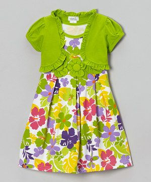 Love this Lime Tropical Floral Dress & Shrug - Infant, Toddler & Girls by Littoe Potatoes on #zulily! #zulilyfinds