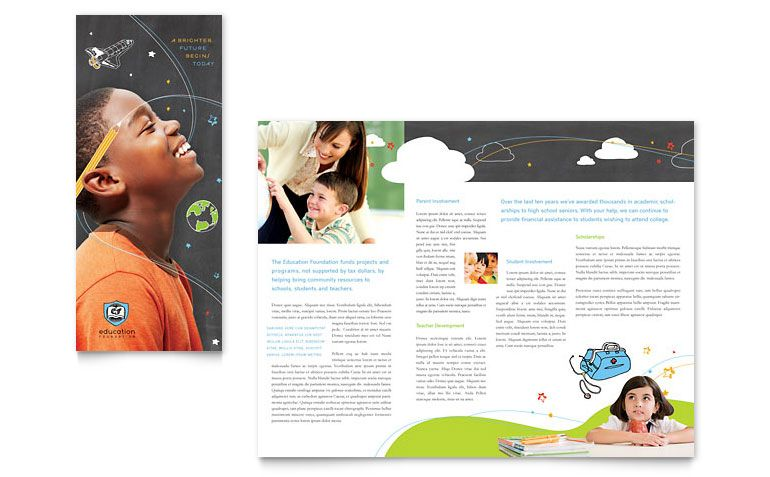 Education Foundation Tri Fold Brochure Microsoft Word Template - Microsoft publisher brochure templates