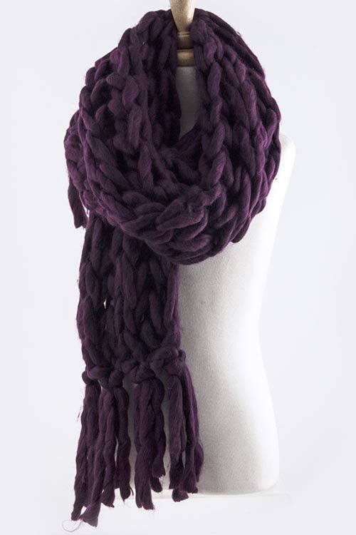 Braided Cozy Long Fringe Scarf (multiple colors)