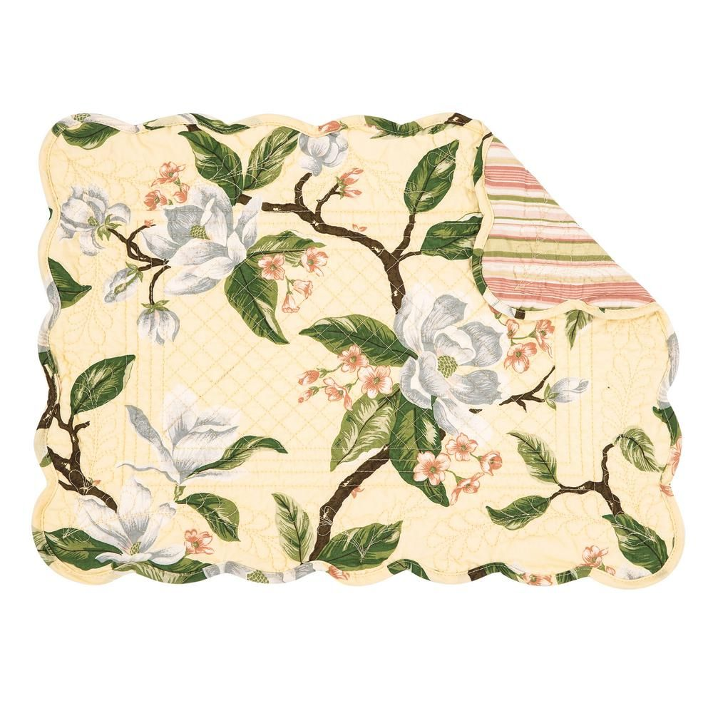 C F Home 13 In X 19 In Yellows Golds Cotton Annika Placemat Set Of 6 86262084wb The Home Depot Floral Placemats Place Mats Quilted Placemats