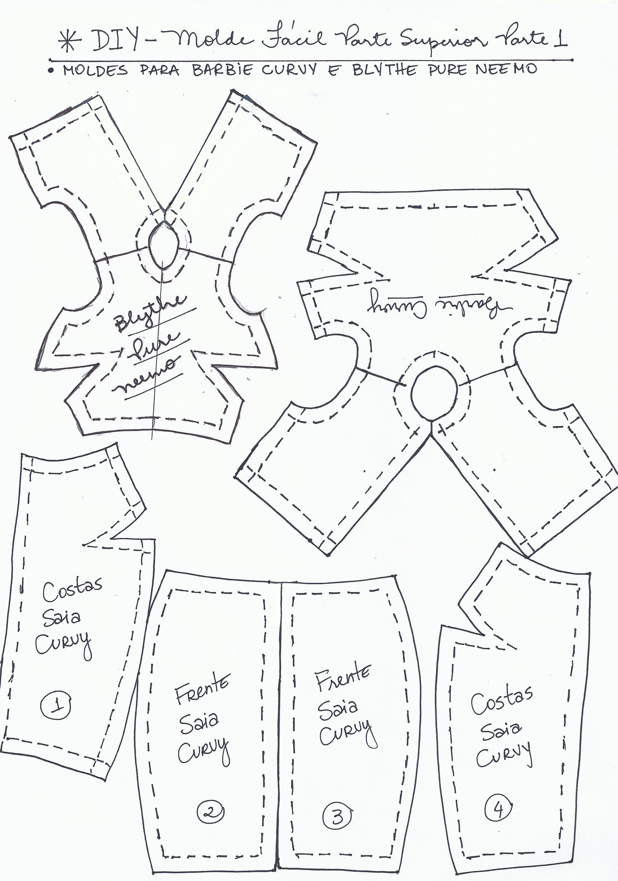 Molde Extra Blythe e Curvy, continuação do #DIY - Molde Fácil Parte 1 -  Superior | Padrões de costura barbie, Roupas para barbie, Molde para roupa  de boneca