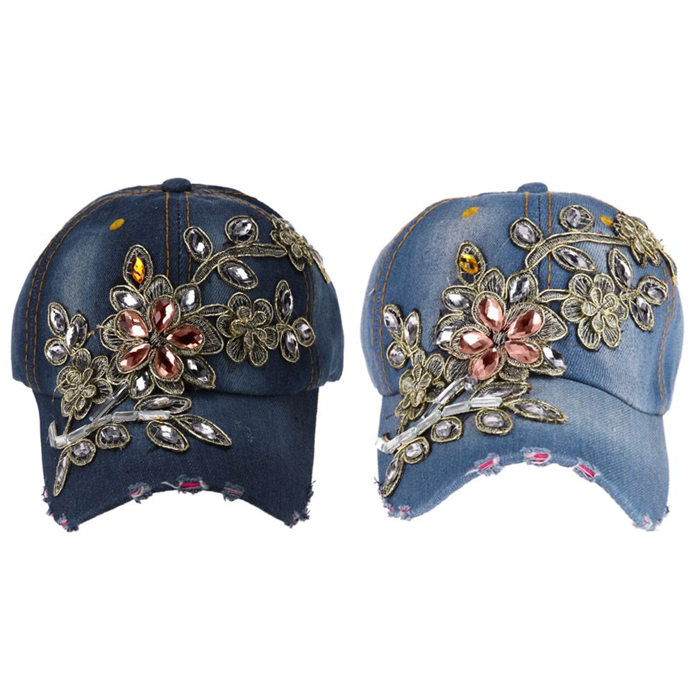 Denim Baseball Cap Women Flower Crystal Embroidery Baseball Cap Snapback  Size Adjustable Baseball Cap Women Apparel 34f1c70f62b4