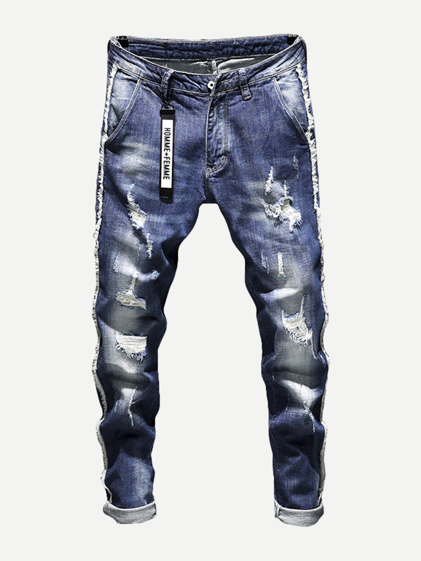 604131fe Guys Wash Rolled Hem Destroyed Jeans in 2019 | KOG: Demetrius ...