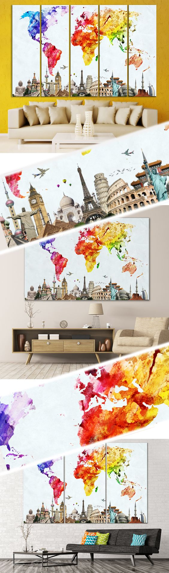 Watercolor world map 103 canvas print office walls wall creative world map canvas prints wall art for large home or office wall decoration sale gumiabroncs Gallery