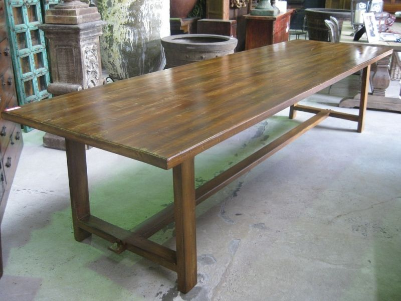 Beach House Table Natural Timber Refectory Base Stretcher Reclaimed
