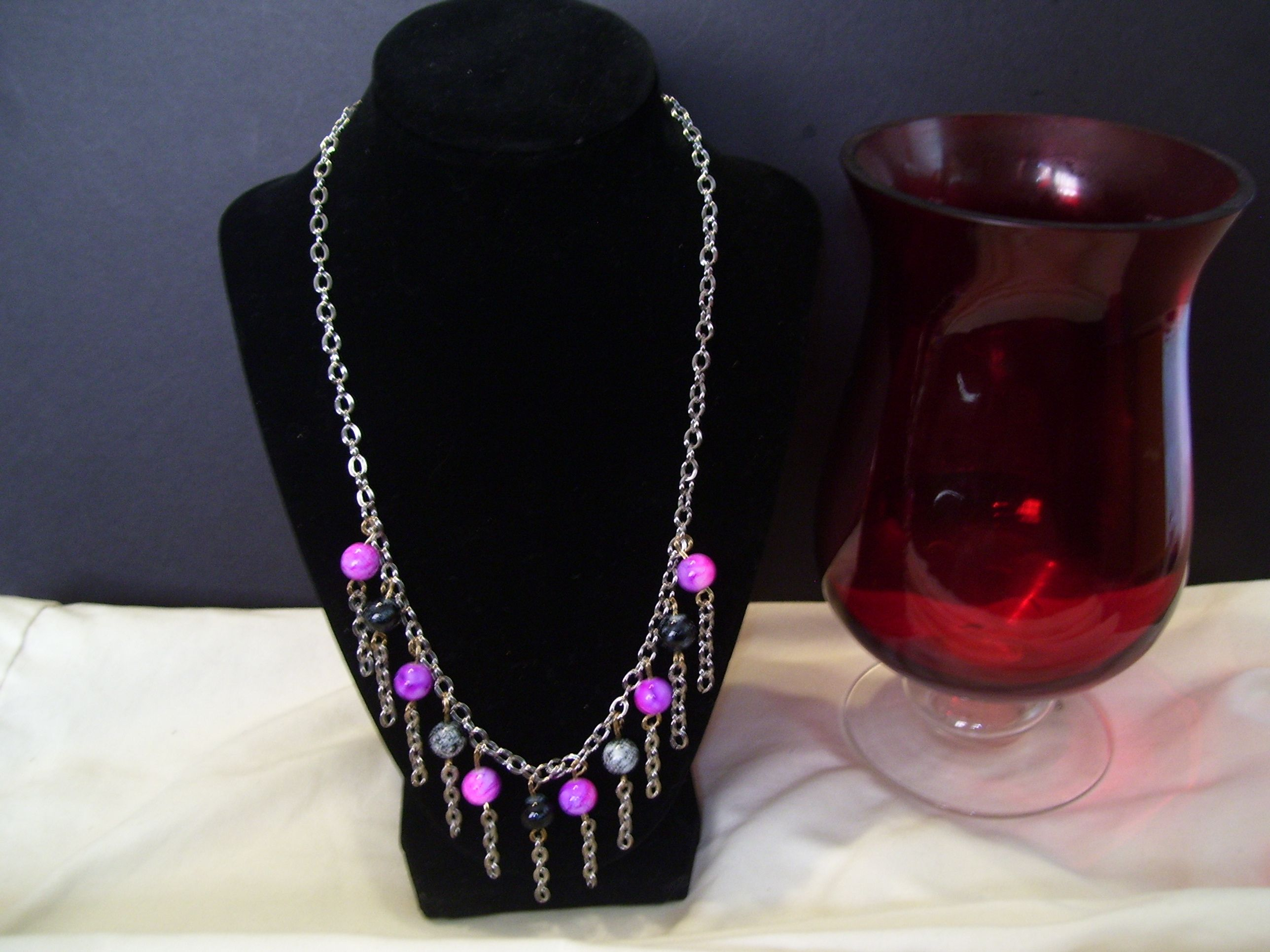"""This is a gorgeous 20"""" chain necklace with purple glass beading and tassel chain.  Gorgeous piece.  Can be worn for any occasion."""