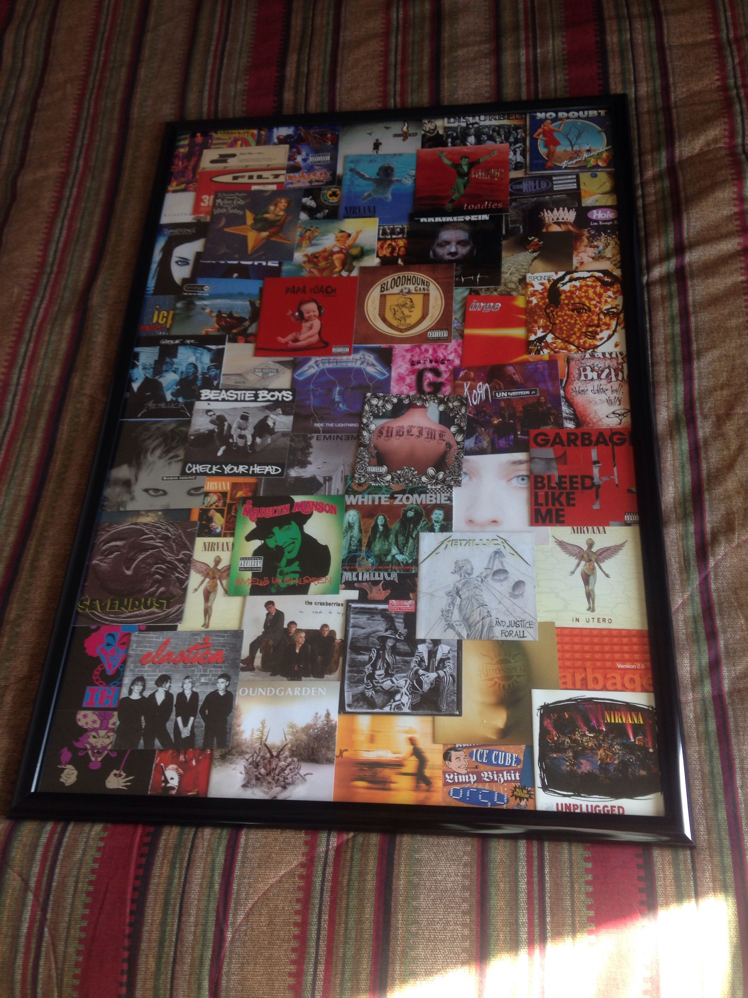 old cd art in a poster frame i think it came out awesome just ran