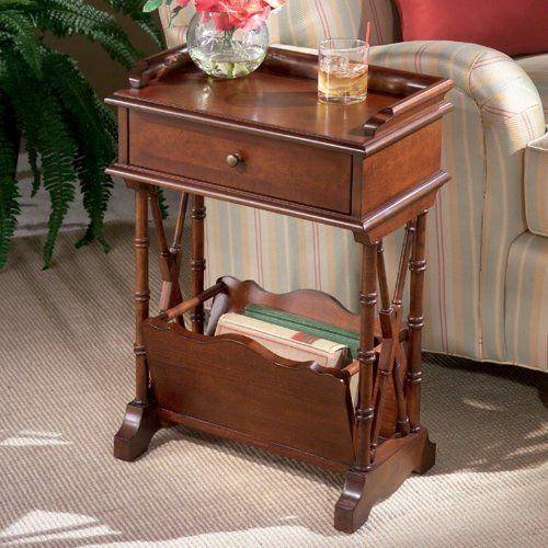 """Butler Specialty Company Plantation Cherry Martini Table by Butler Specialty Company. $209.00. Size: 24""""H x 15""""W x 10.5""""D. Cherry veneers. Catch all drawer. Constructed from select solid wood, this table is built to last. Color: Antique Brass, Cherry. Finish:Plantation Cherry  Martini Table  Made of select solid woods, wood products and cherry veneer.  Single drawer with antique brass finished hardware.  Lower magazine rack."""