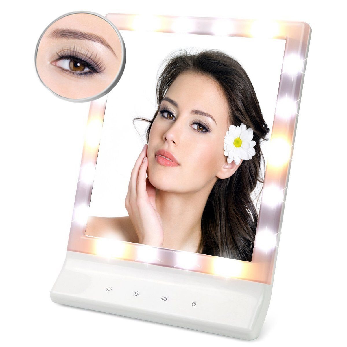 LED Lighted Makeup Mirror with Removable 10x Magnifying