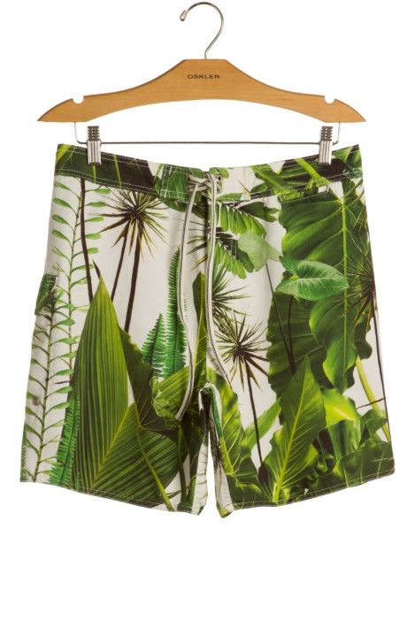 Osklen - BERMUDA CASUAL SURF GREEN LEAVES - bermudas - men