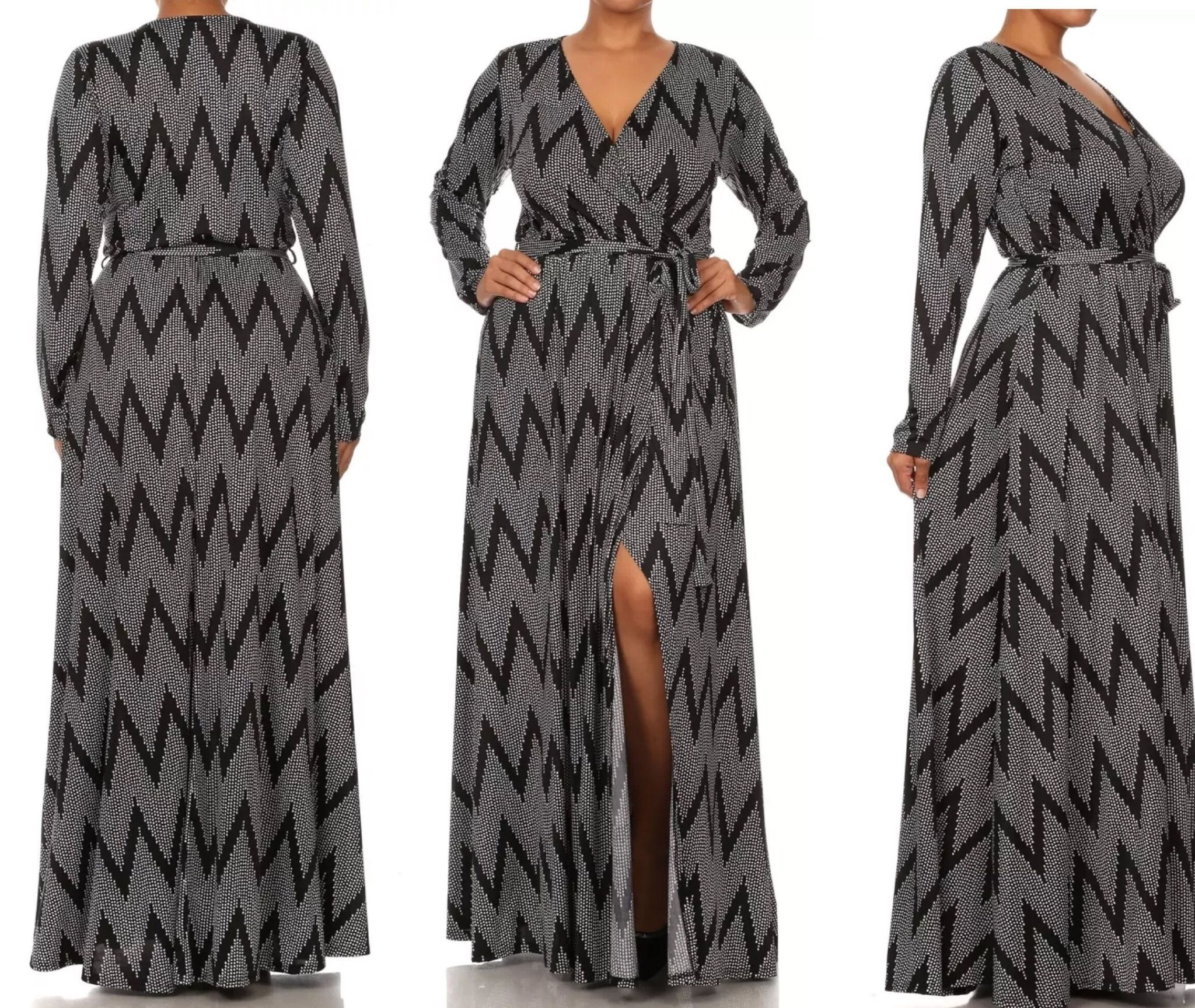 New Sexy Plus Size Black Chevron Print Wrap Dress With Open Slit Size 2XL