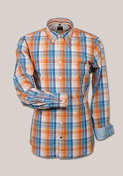 OLYMP Casual Hemd Langarm Multicolor Karo orange/blau 7403/64/91