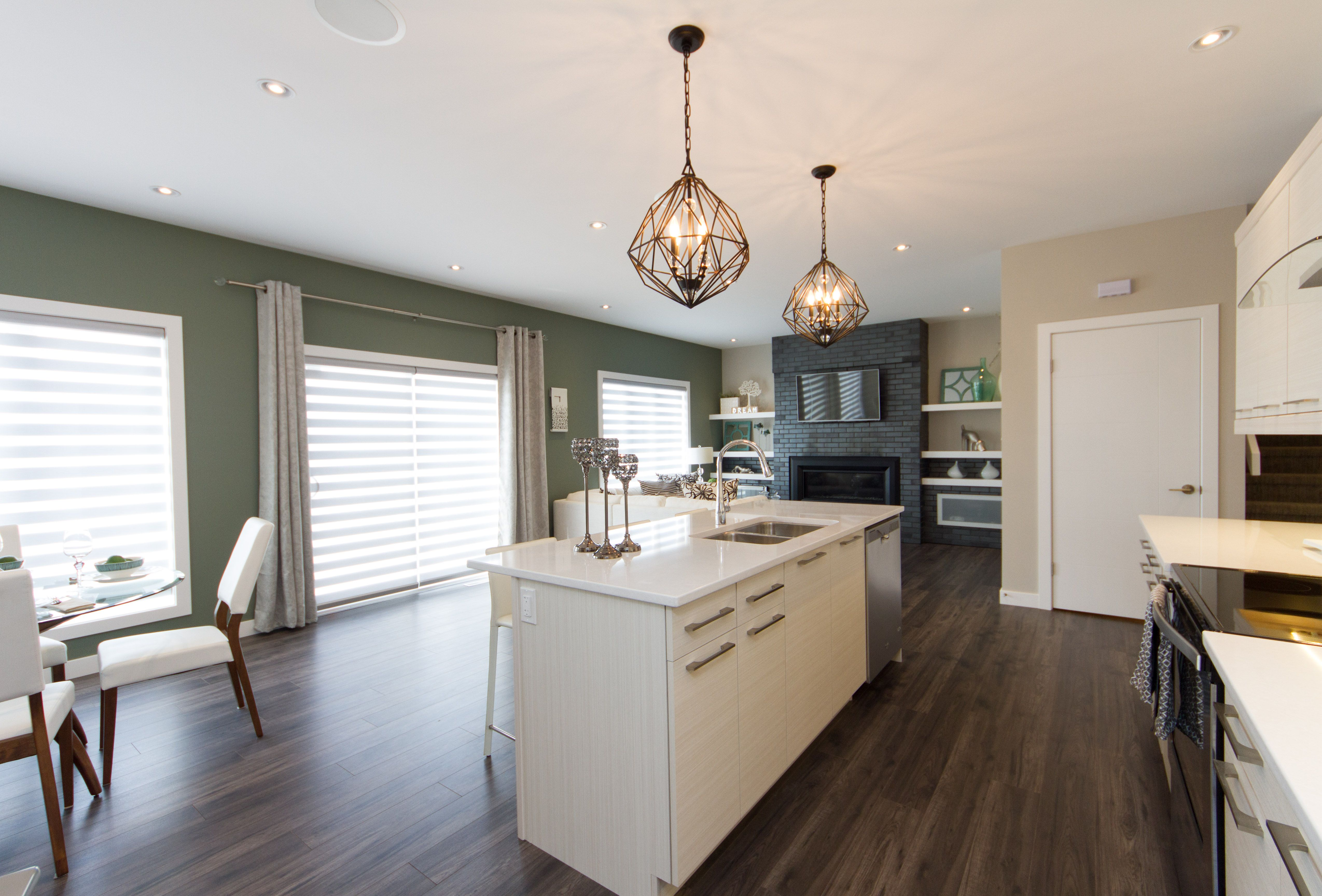 Open Concept Galley Kitchen Dining Room And Living Room With