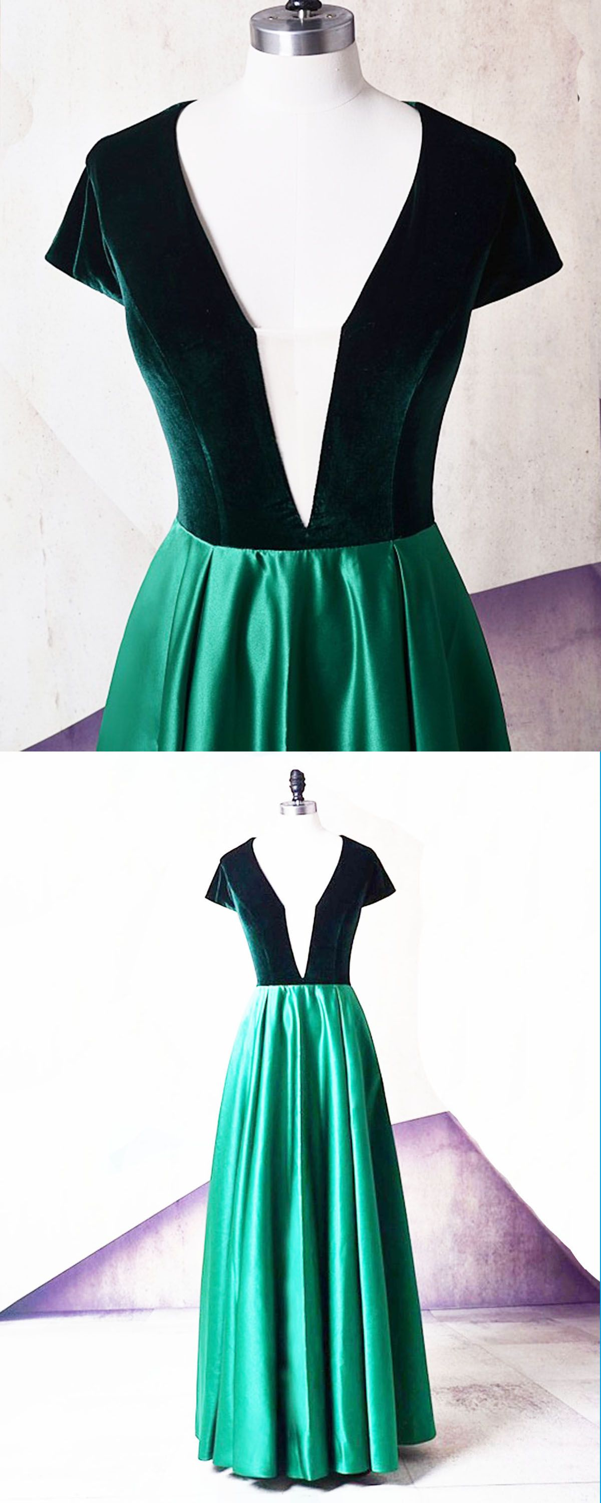 Emerald satin v neck short sleeve long evening dress long velvet