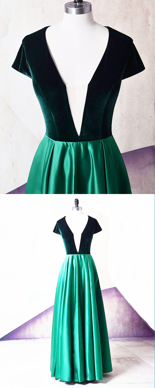 Emerald satin v neck short sleeve long evening dress long velvet
